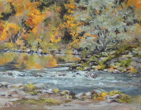 Seasons Art Print featuring the painting Fall on the River by Karen Ilari