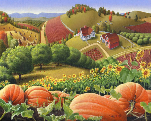 Pumpkin Art Print featuring the painting Farm Landscape - Autumn Rural Country Pumpkins Folk Art - Appalachian Americana - Fall Pumpkin Patch by Walt Curlee