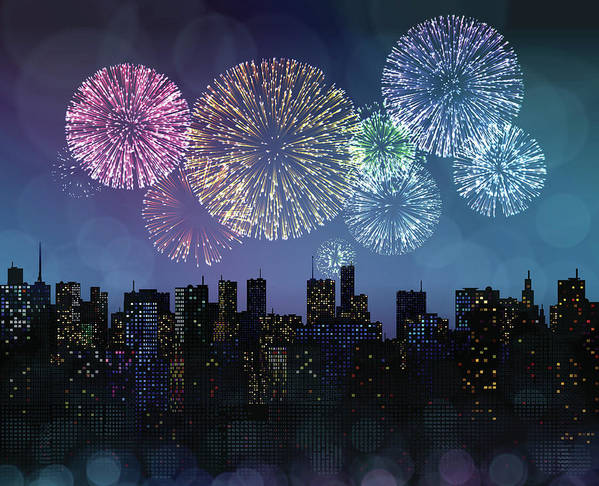 Event Art Print featuring the digital art Fireworks Over The City by Magnilion