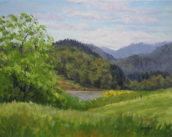 Pond Art Print featuring the painting Ford's Pond in Spring by Karen Ilari