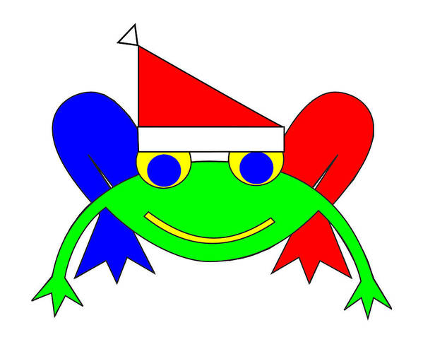 Frederic The Frog Whishes You A Merry Christmas Art Print featuring the digital art Frederic the Frog whishes you a Merry Christmas by Asbjorn Lonvig