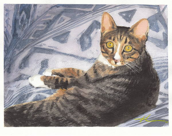<a Href=http://miketheuer.com Target =_blank>www.miketheuer.com</a> Funky Cat Watercolor Portrait Art Print featuring the drawing Funky Cat Watercolor Portrait by Mike Theuer
