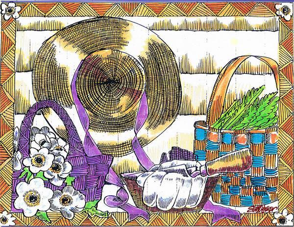 Gardener's Basket Art Print featuring the drawing Gardener's Basket by Seth Weaver