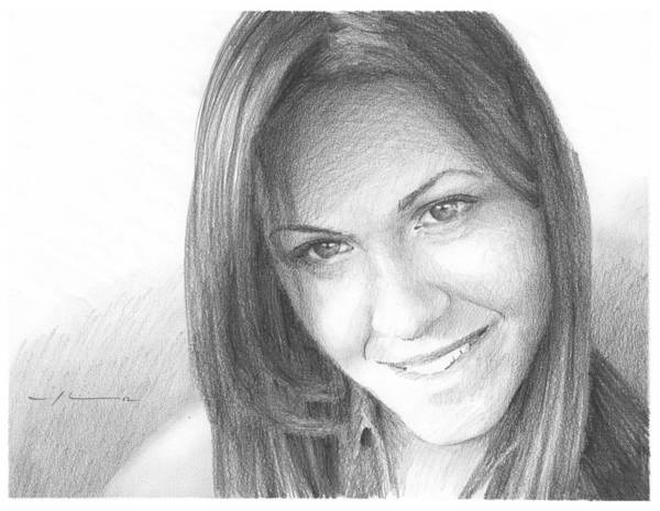 <a Href=http://miketheuer.com Target =_blank>www.miketheuer.com</a> Girlfriend Pencil Portrait Art Print featuring the painting Girlfriend Pencil Portrait by Mike Theuer