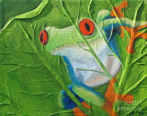 Red Eyed Tree Frog Art Print featuring the painting Hide and Seek by Darlene Green