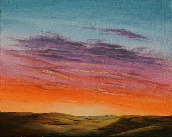 High Plains Art Print featuring the painting High Plains Sunset by J W Kelly