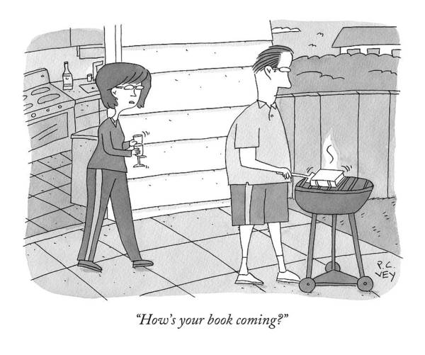 Grill Art Print featuring the drawing How's Your Book Coming? by Peter C. Vey
