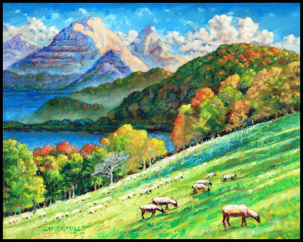 Mountains Art Print featuring the painting In God's Green Pastures by John Lautermilch