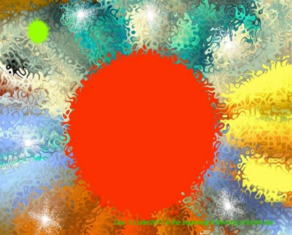 Creation Art Print featuring the digital art In the beginning 4. Morning of fourth day by Dr Loifer Vladimir