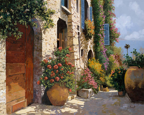 Street Scene Art Print featuring the painting La Strada Piu' Bella by Guido Borelli
