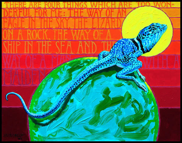 Lizard Art Print featuring the painting Lizard on a Rock by John Lautermilch