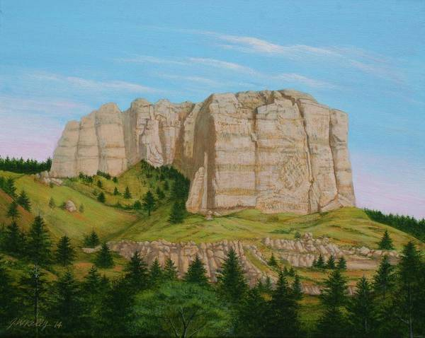 Lover's Leap Art Print featuring the painting Lover's Leap Butte by J W Kelly