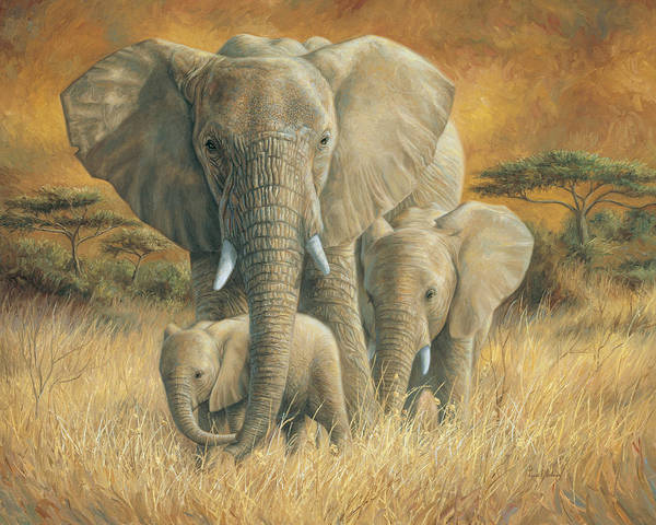 Elephant Art Print featuring the painting Loving Mother by Lucie Bilodeau