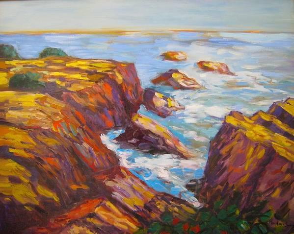 Maine Art Print featuring the painting Marginal Way Ogunquit by Marilene Sawaf