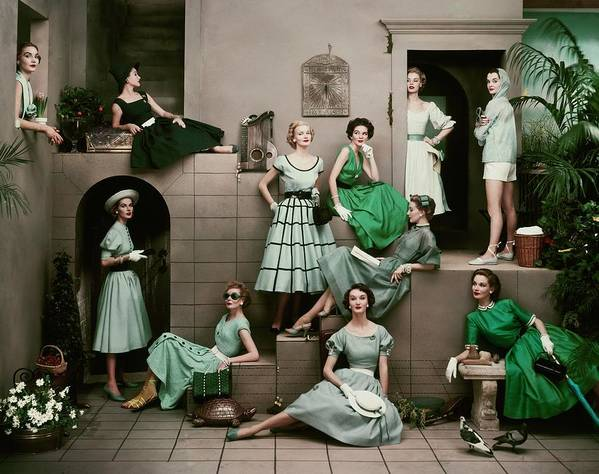 Accessories Art Print featuring the photograph Models In Various Green Dresses by Frances Mclaughlin-Gill