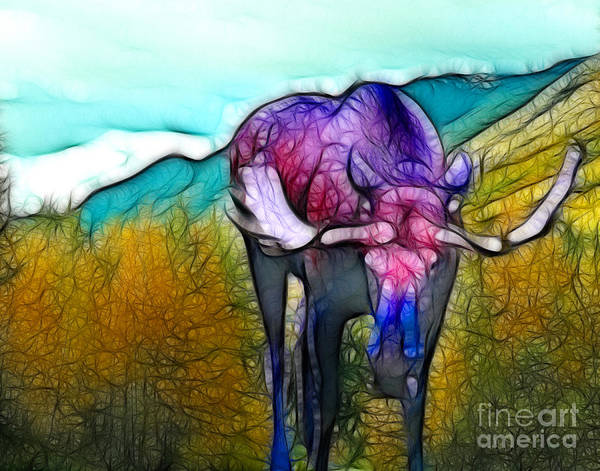 Moose Art Print featuring the mixed media Moose in Pure Light by Francine Dufour Jones