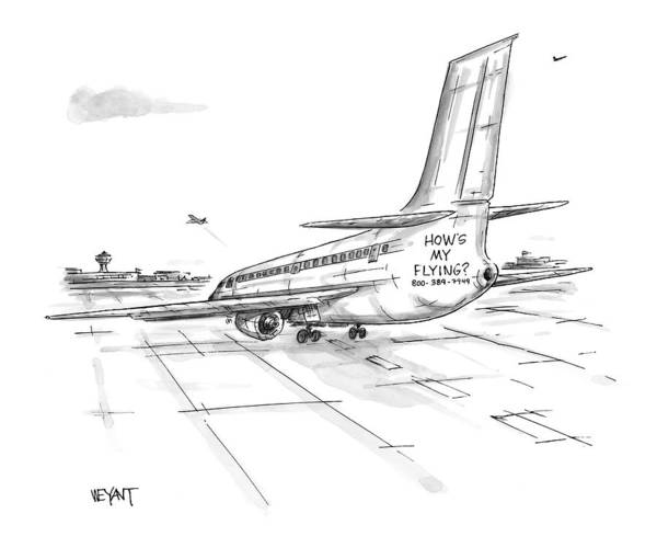 Airplanes Art Print featuring the drawing New Yorker August 23rd, 1999 by Christopher Weyant