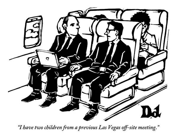 Las Vegas Art Print featuring the drawing One Man Speaks To Another On An Airplane by Drew Dernavich