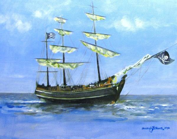 Pirate;pirate Ship;blackbeard Pirate;ship;sea;sail Ship; Art Print featuring the painting Pirate by Howard Stroman