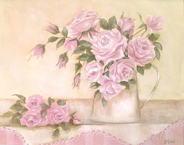 Pretty Pastel Roses Painting Art Print By Chris Hobel