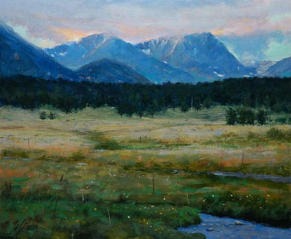 Landscape Art Print featuring the painting Rocky Mountain National Park by Greg Clibon