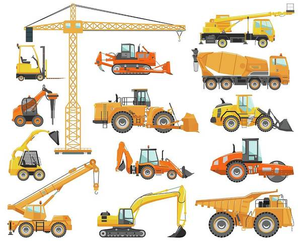 Hydraulic Platform Art Print featuring the digital art Set Of Detailed Heavy Construction And by Alexyustus