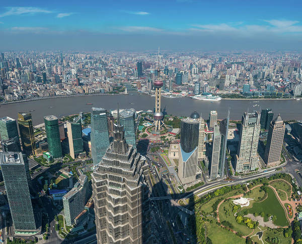 Chinese Culture Art Print featuring the photograph Shanghai Aerial View Over Pundong by Fotovoyager