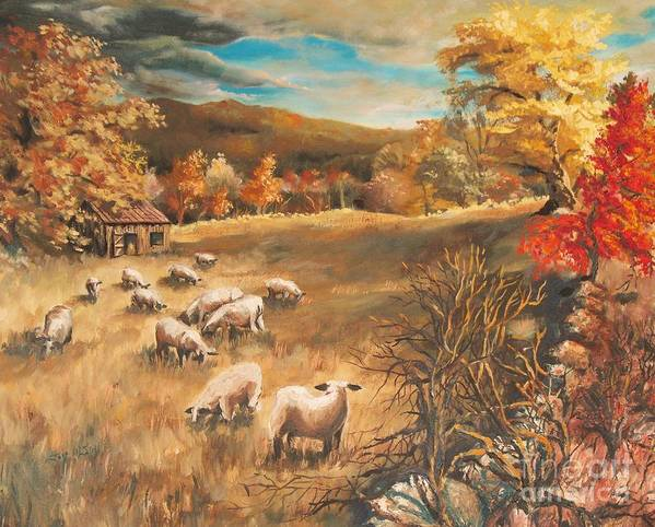 Oil Painting Art Print featuring the painting Sheep in October's field by Joy Nichols