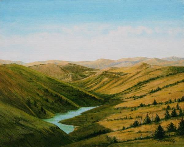 High Plains Landscape Art Print featuring the painting Smiley Canyon Wash by J W Kelly