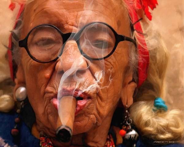 Smoking Art Print featuring the digital art Smoking - Caribbean Serie by Gabriel T Toro