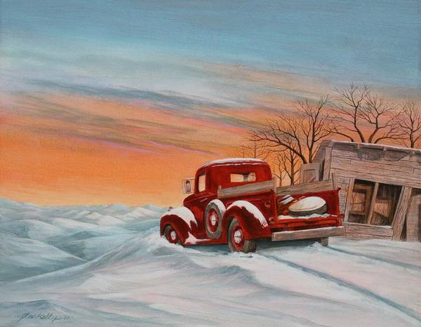 Landscape Art Print featuring the painting Snowed-In 2 by J W Kelly