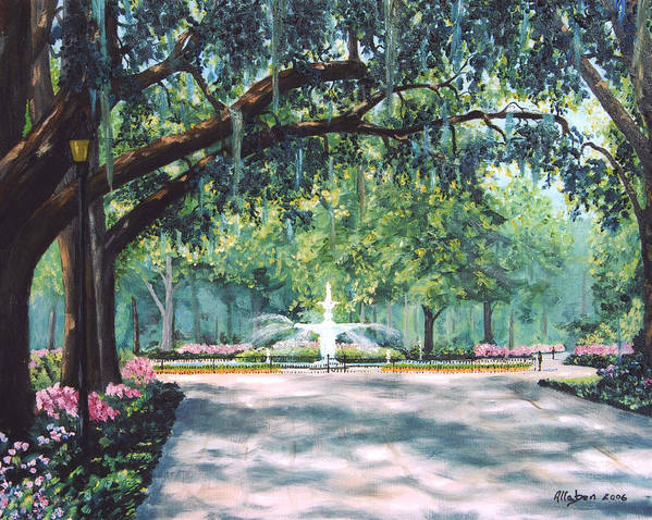 Savannah Art Print featuring the painting Spring In Forsythe Park by Stanton Allaben