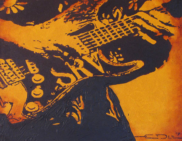 Stevie Ray Vaughan Art Print featuring the painting SRV Number One Fender Stratocaster by Eric Dee