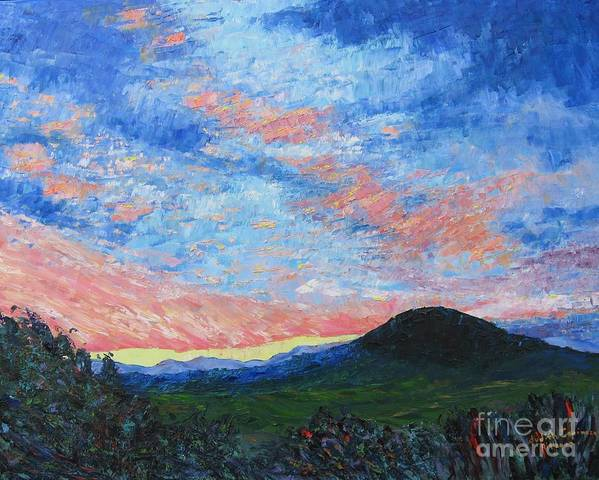Landscape Art Print featuring the painting Sun Setting Over Mole Hill - SOLD by Judith Espinoza