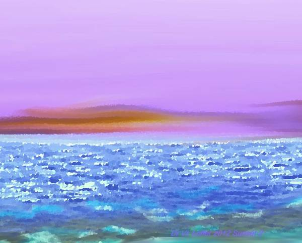 Sunset Sky Sea Waves Light Evening Art Print featuring the digital art Sunset 2 by Dr Loifer Vladimir