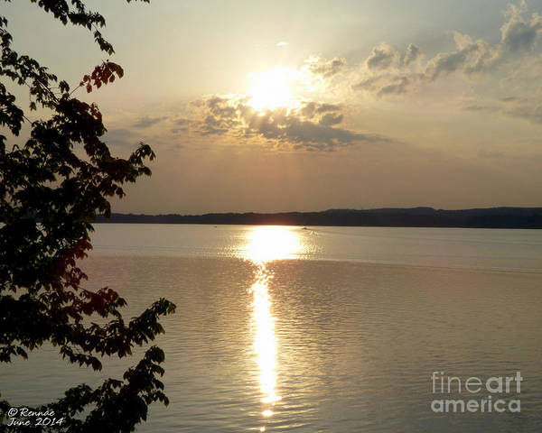 Sun Art Print featuring the photograph Sunset On Delta Lake by Rennae Christman