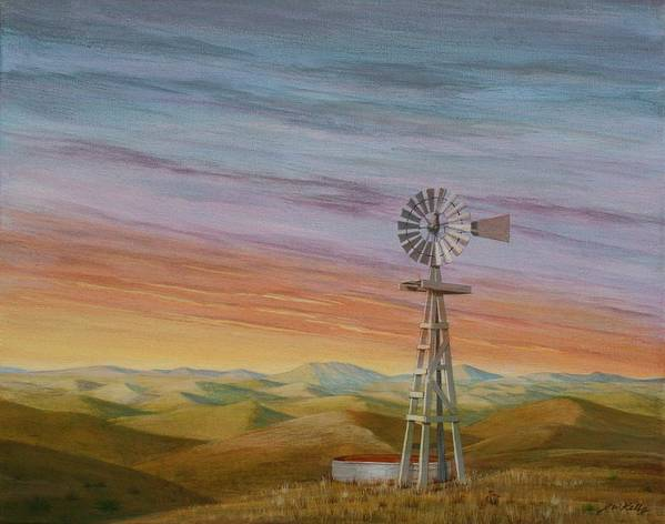 High Plains Art Print featuring the painting Windmill Sunset by J W Kelly