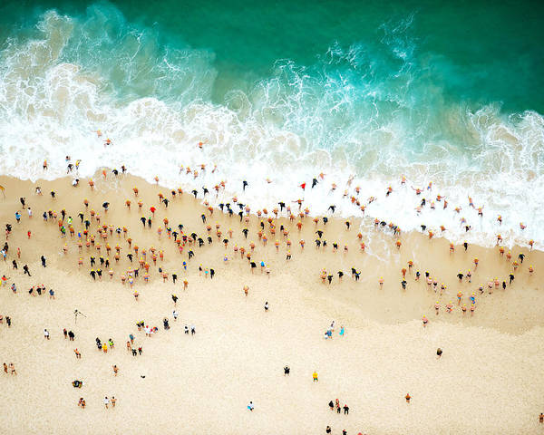 Water's Edge Art Print featuring the photograph Swimmers Entering The Ocean by Tommy Clarke