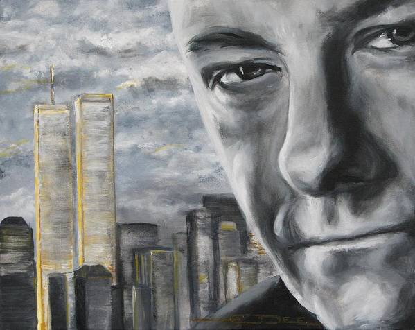 Soprano Art Print featuring the painting T and the WTC by Eric Dee