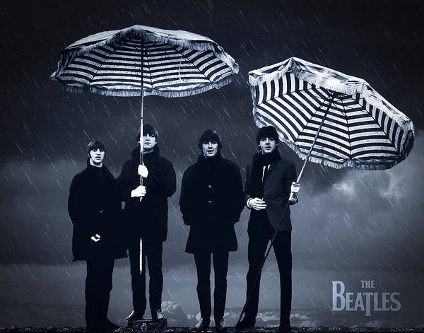 The Beatles Art Print featuring the digital art The Beatles in the rain by Aged Pixel