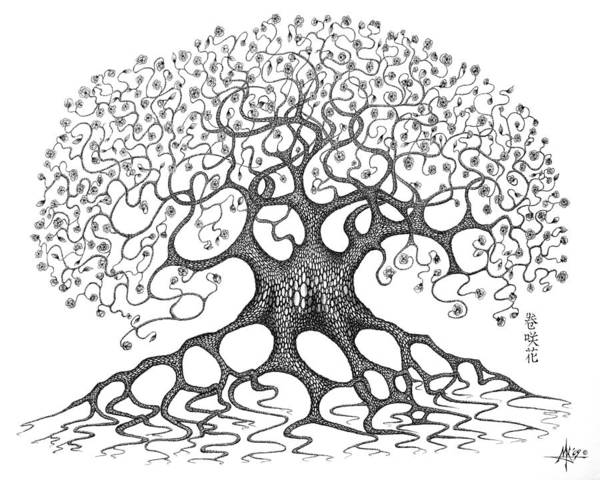 Tree Art Print featuring the drawing The Convoluted Flower Tree by Robert Fenwick May Jr