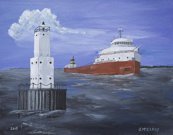 Lighthouse Art Print featuring the painting The Fitz Departs Escanaba by Jerry McElroy