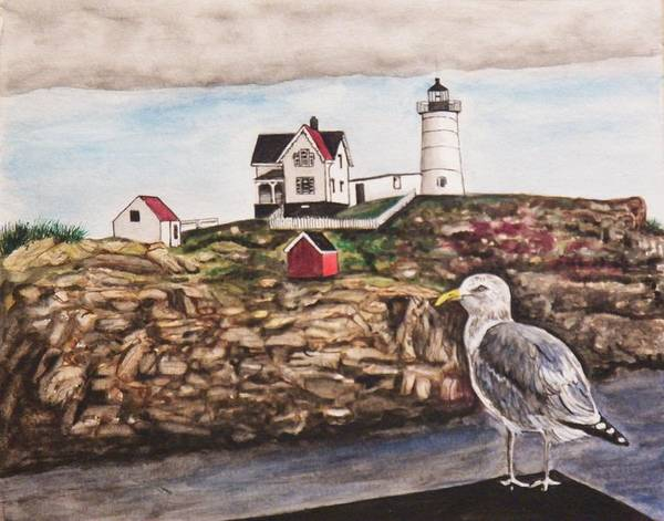 Seascape Art Print featuring the painting The light House by Jim Reale