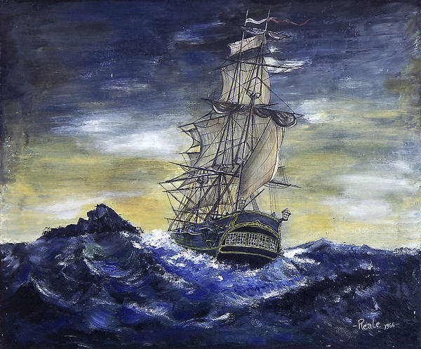 Seascape Art Print featuring the painting The Ship by Jim Reale