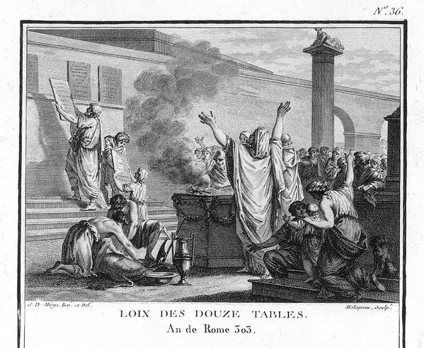 Rome Art Print featuring the drawing The Twelve Tables, Rome's First Legal by Mary Evans Picture Library