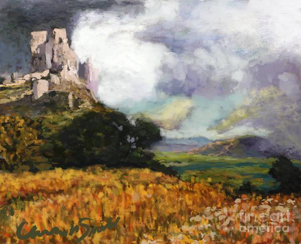 Landscape Art Print featuring the digital art Castle Ruins by Chris Neil Smith