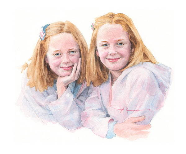 <a Href=http://miketheuer.com Target =_blank>www.miketheuer.com</a> Twin Sisters Watercolor Portrait Art Print featuring the drawing Twin Sisters Watercolor Portrait by Mike Theuer