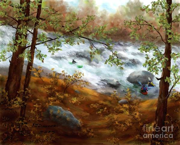 Whitewater Kayaking Art Print featuring the painting Whitewater Kayaking by Judy Filarecki