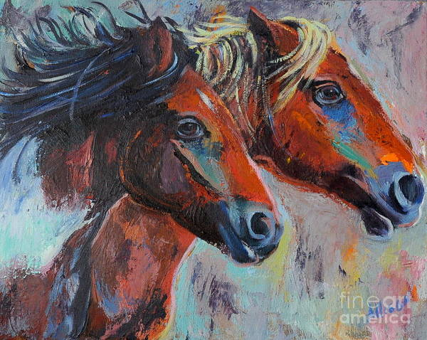 Horses Art Print featuring the painting Wild by Stephanie Allison