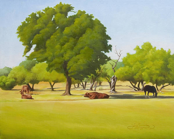 Texas Landscape Art Print featuring the painting Wimberley Pastoral by Gary Hernandez